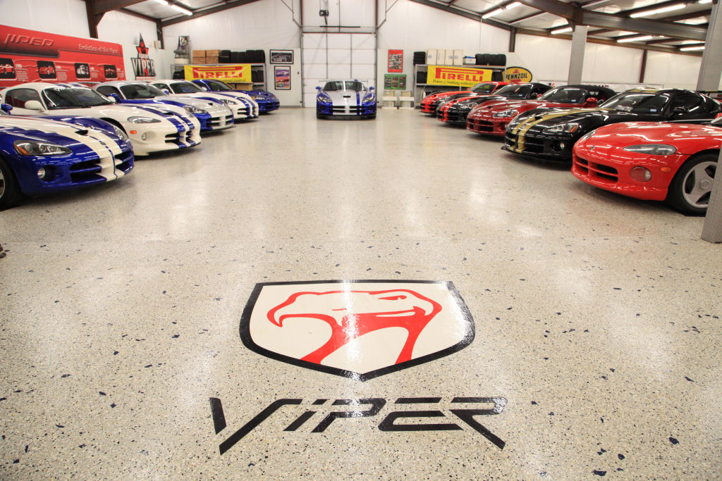 A garage full of the worlds largest dodge viper collection