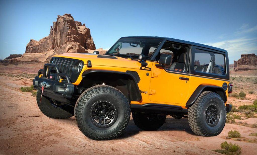 The Orange Peelz Jeep Wrangler Concept parked in Moab