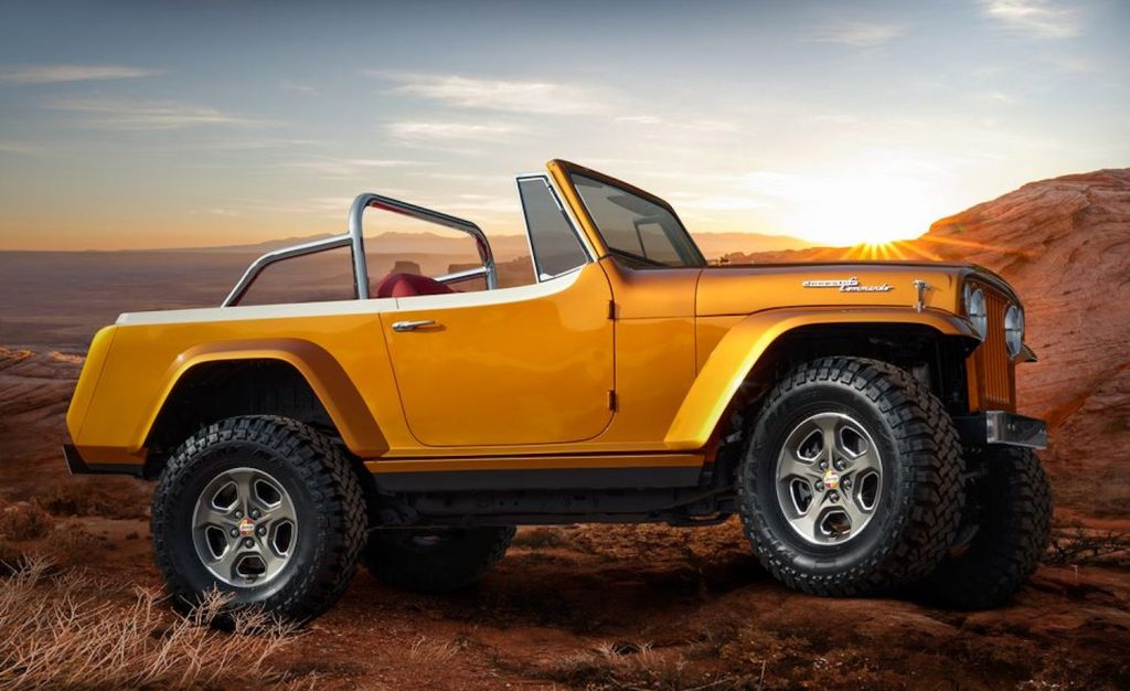 The 1968 Jeepster Commando Beach Concept parked at sunset in Moab