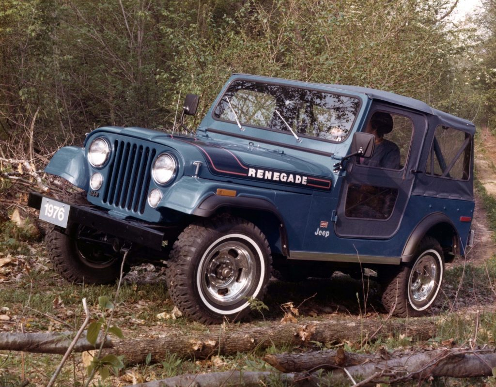 The CJ Jeep driving through the woods