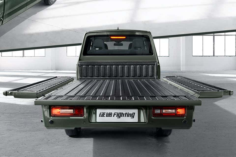 The GM Zhengtu Truck folded into a Flatbed