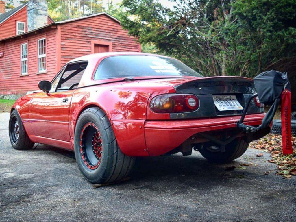 red 1990 Miata with a LS Chevy Silverado motor swap
