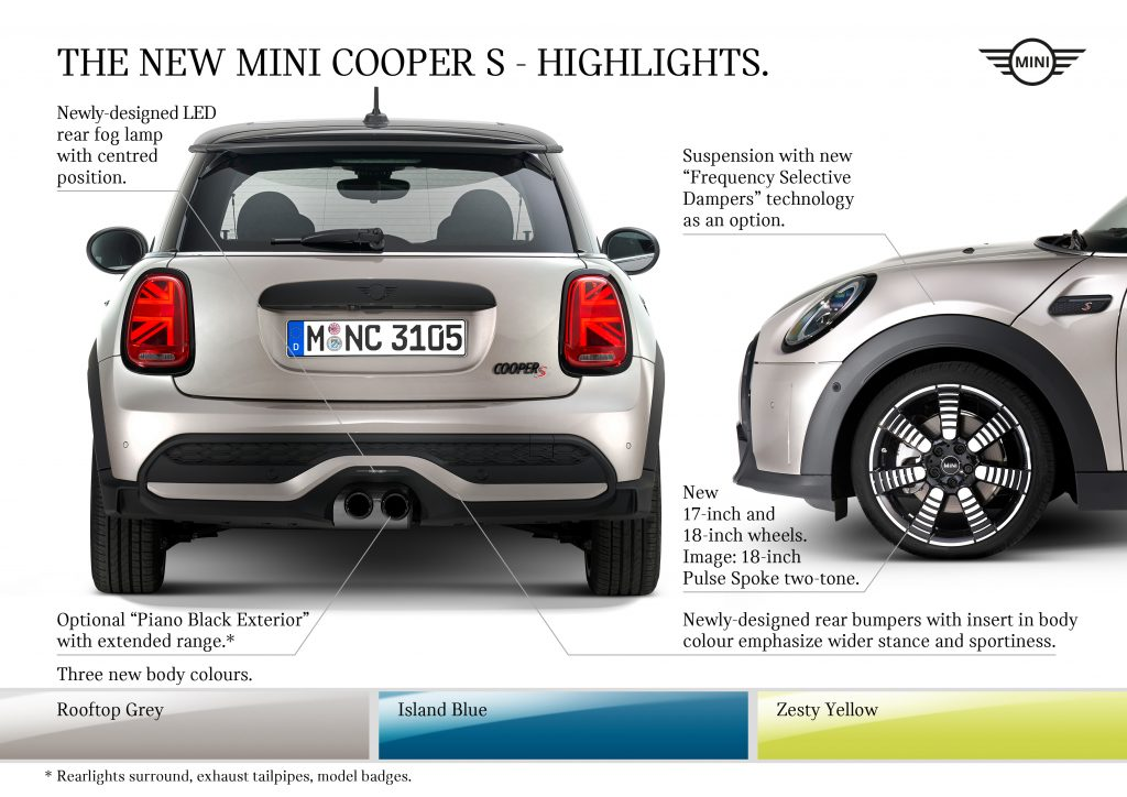 An overview of updates to the rear and side of the new Mini Cooper S