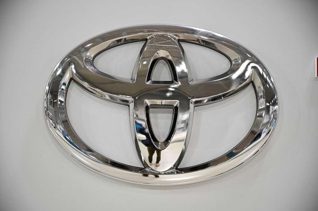 A logo of Toyota is pictured at the companys showroom in Tokyo on November 6, 2020. (Photo by Philip FONG / AFP) (Photo by PHILIP FONG/AFP via Getty Images)