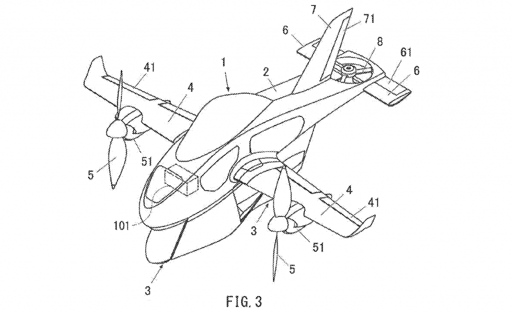 Patent application diagram for Subaru flying motorcycle