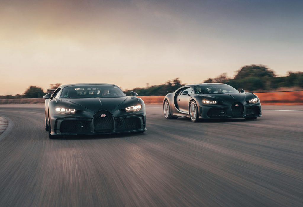 An image of a Bugatti Chiron out on a track.