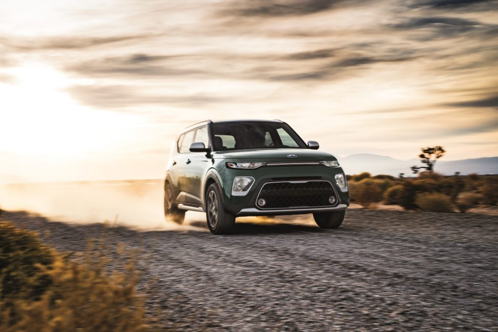 2021 Kia Soul driving on a gravel road