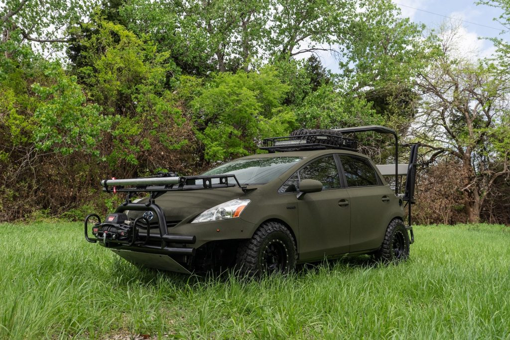An image of a modified Toyota Prius parked outdoors.
