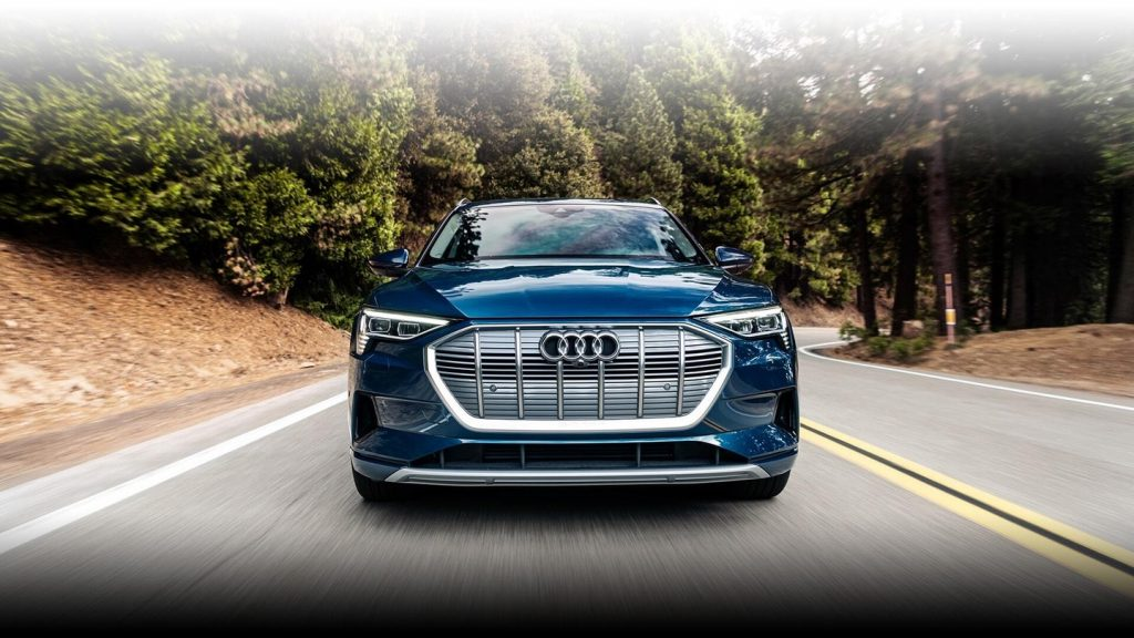 front grille view of the 2021 audi e-tron electric luxury SUV