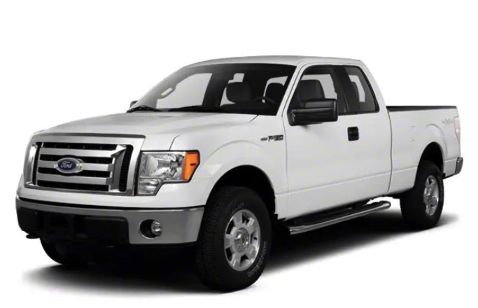 a white 2010 Ford F-150 in a press photo against a white backdrop