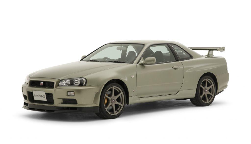 A gold 2001 R34 Nissan Skyline GT-R M-Spec Nur
