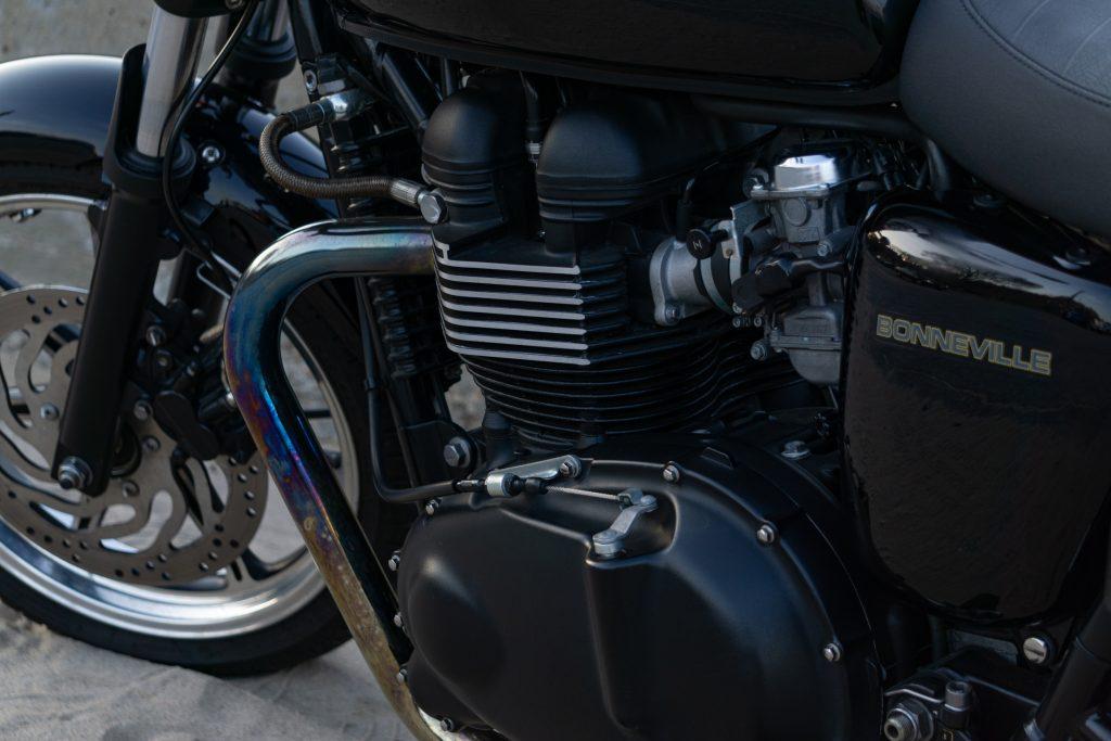 A close-up of the 2009 Triumph Bonneville's parallel-twin engine