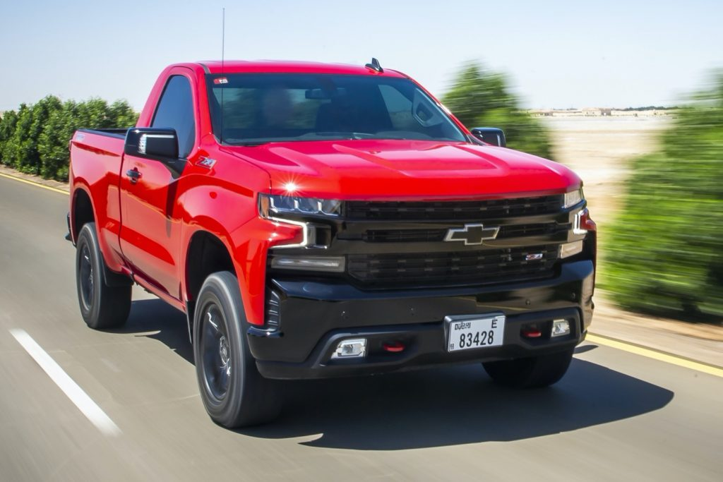 front 3/4 red Silverado pickup