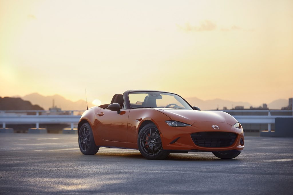 2019 Mazda MX-5 Miata parked at sunset