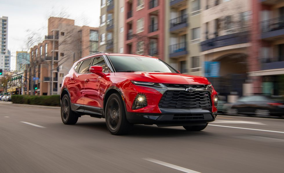 The 2019 Chevy Blazer driving down the street