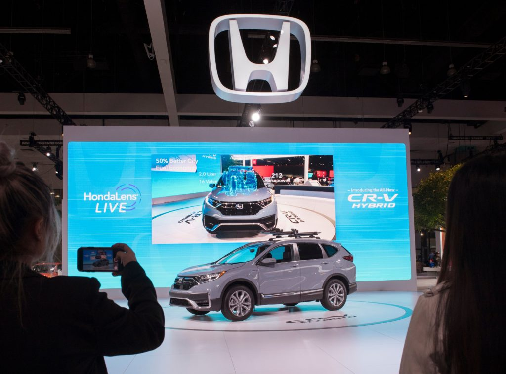 A Toyota CR-V hybrid on display