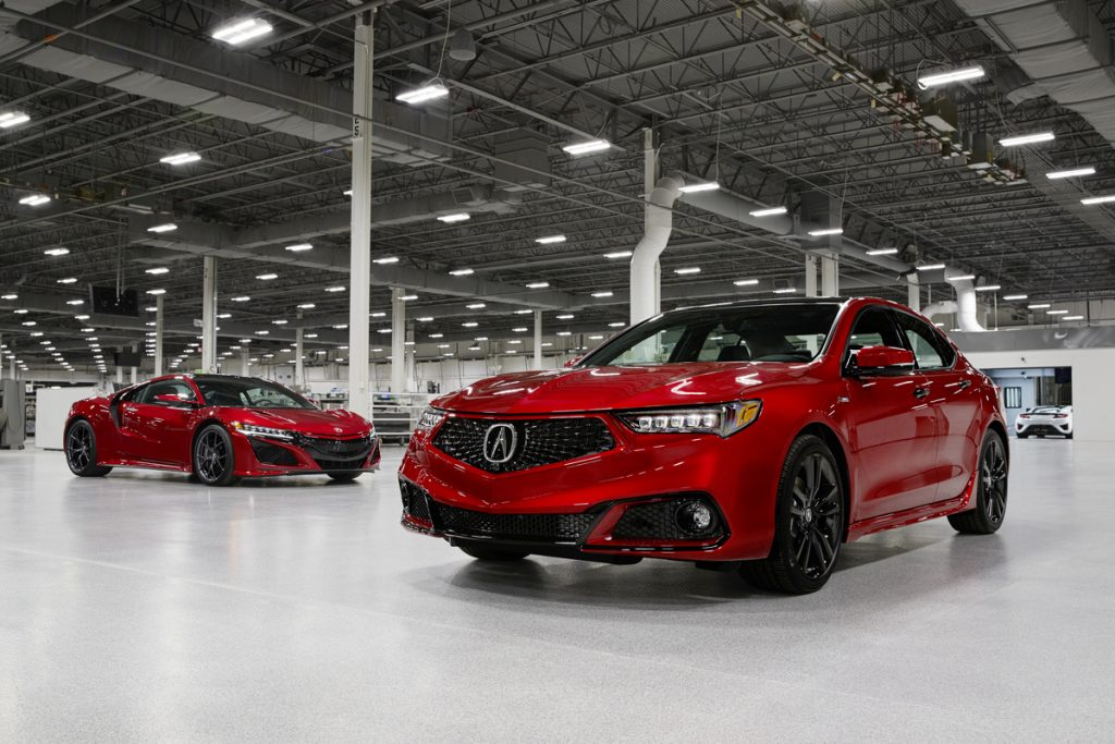 a front shot of the 2020 Acura TLX PMC Edition and the NSX