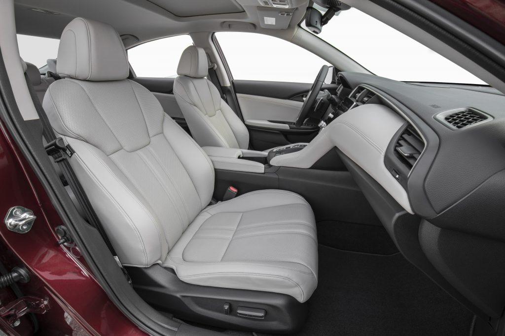 Gray leather interior of a 2020 Honda Insight sedan