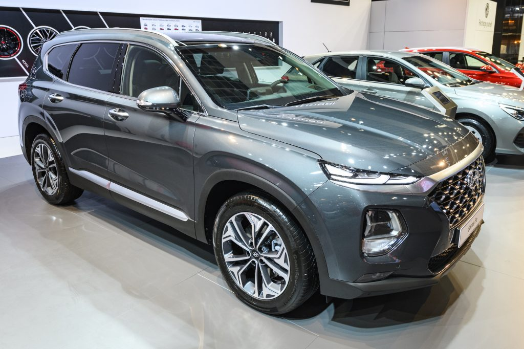 A dark-gray metallic 2020 used Hyundai Santa Fe midsize SUV on display at Brussels Expo on January 9, 2020, in Brussels, Belgium