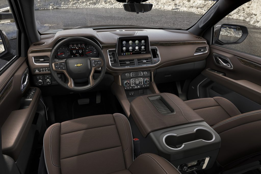 2021 Chevy Suburban interior in brown