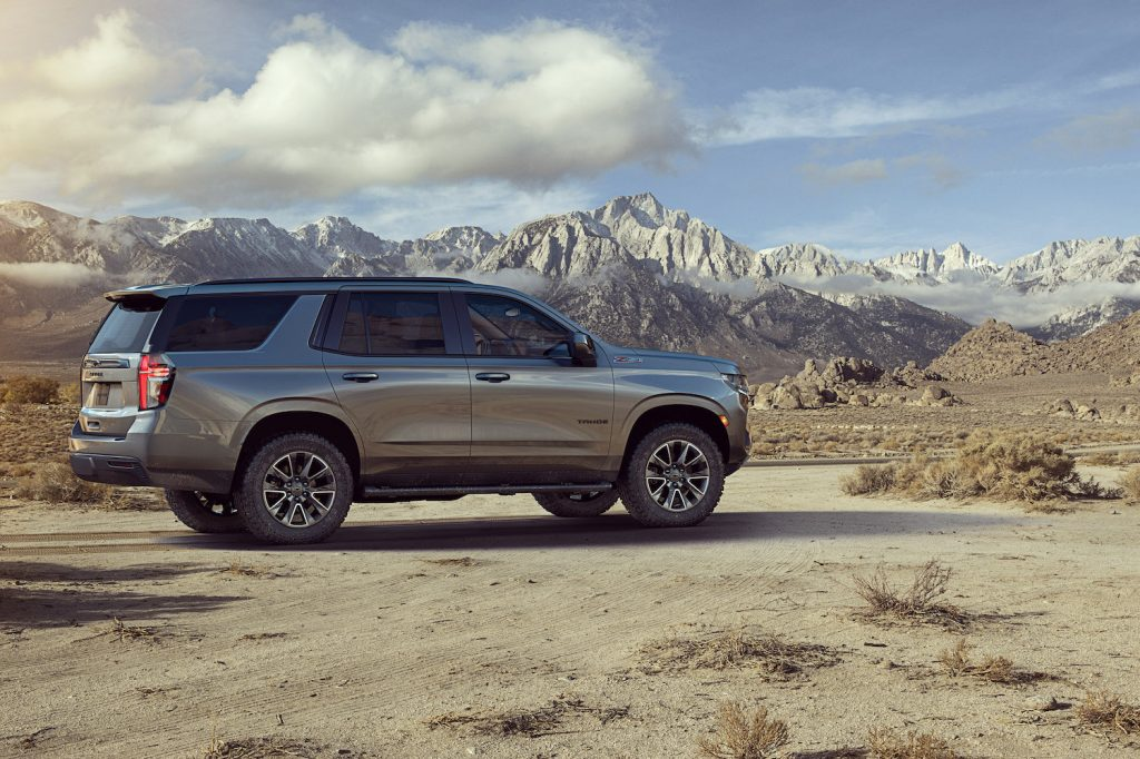 2021 Chevy Tahoe Z71 parked in the mountains