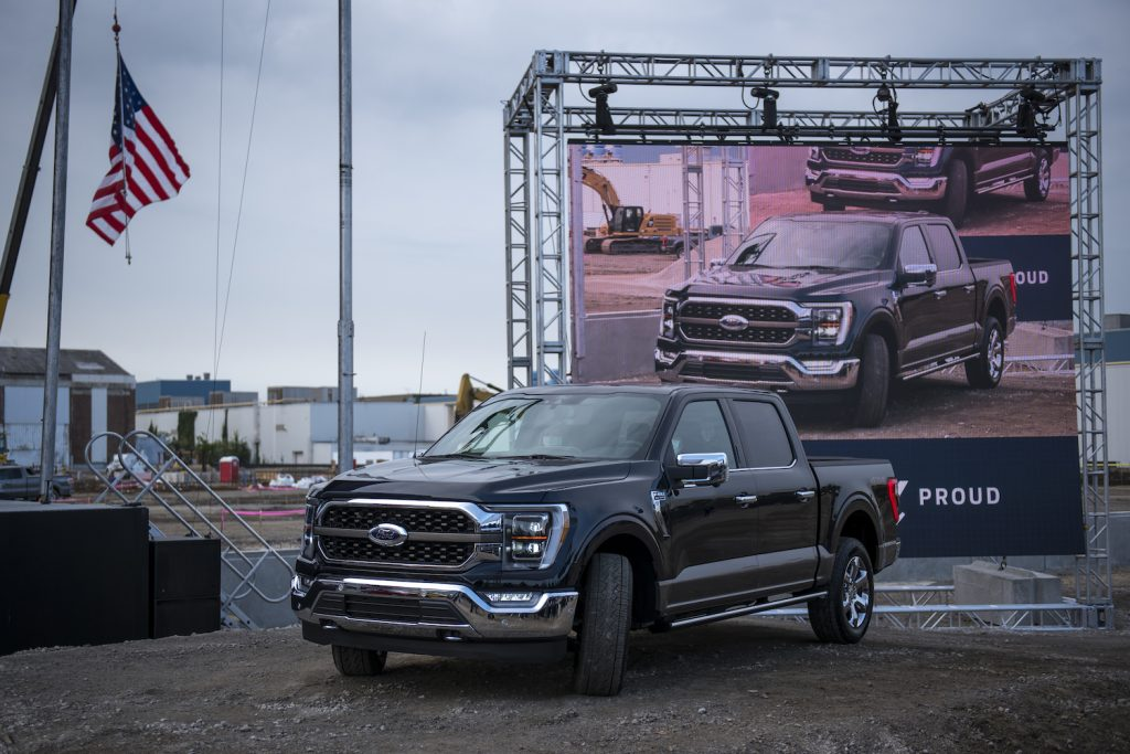 Pictured is the 2021 Ford F-150 at its Dearborn Plant debut.