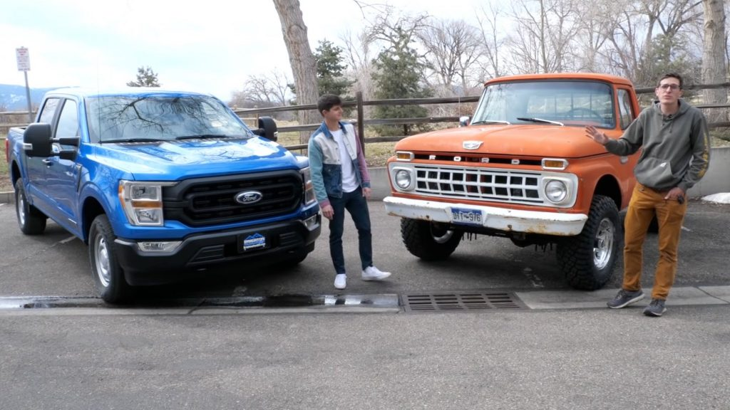 comparison of a blue 2021 Ford F-150 hybrid and a red 1965 Ford F100