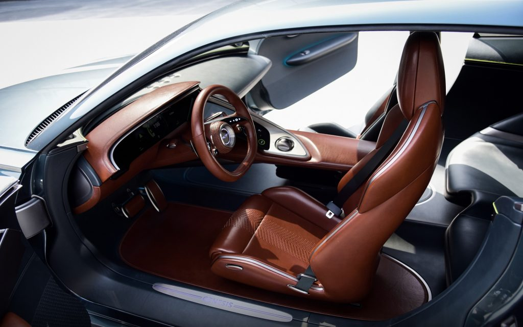 The brown-and-green-leather interior of the 2021 Genesis X Concept