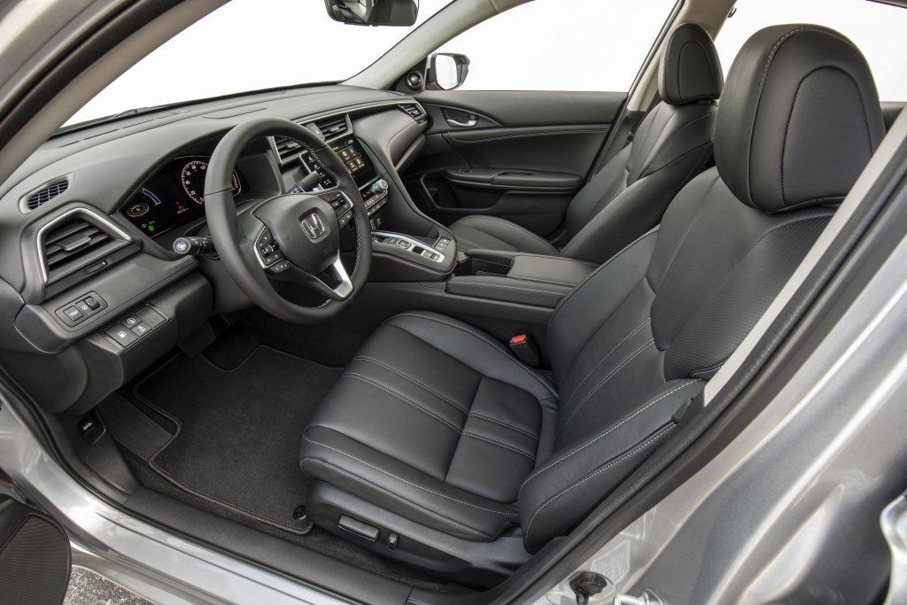 black leather interior of the 2021 Honda Insight hybrid sedan