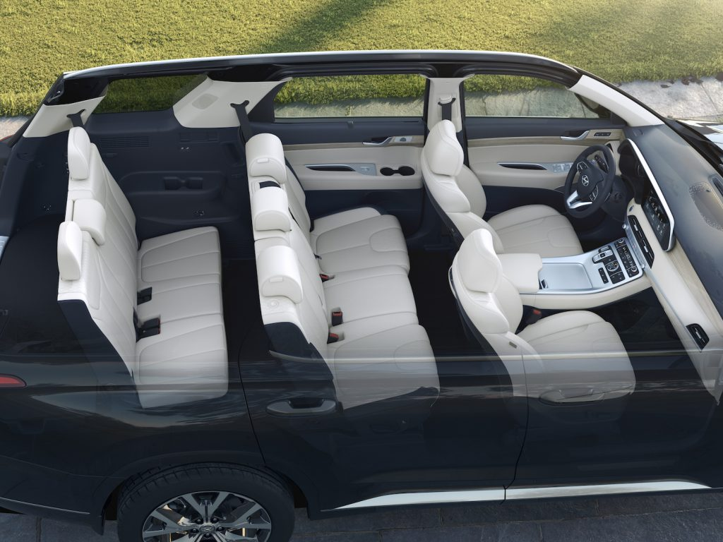 A top view of the interior of the 2021 Hyundai Palisade