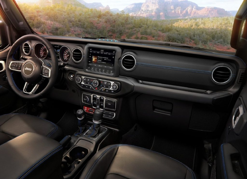 The front seats and dashboard of the 2021 Jeep Wrangler Rubicon 4xe