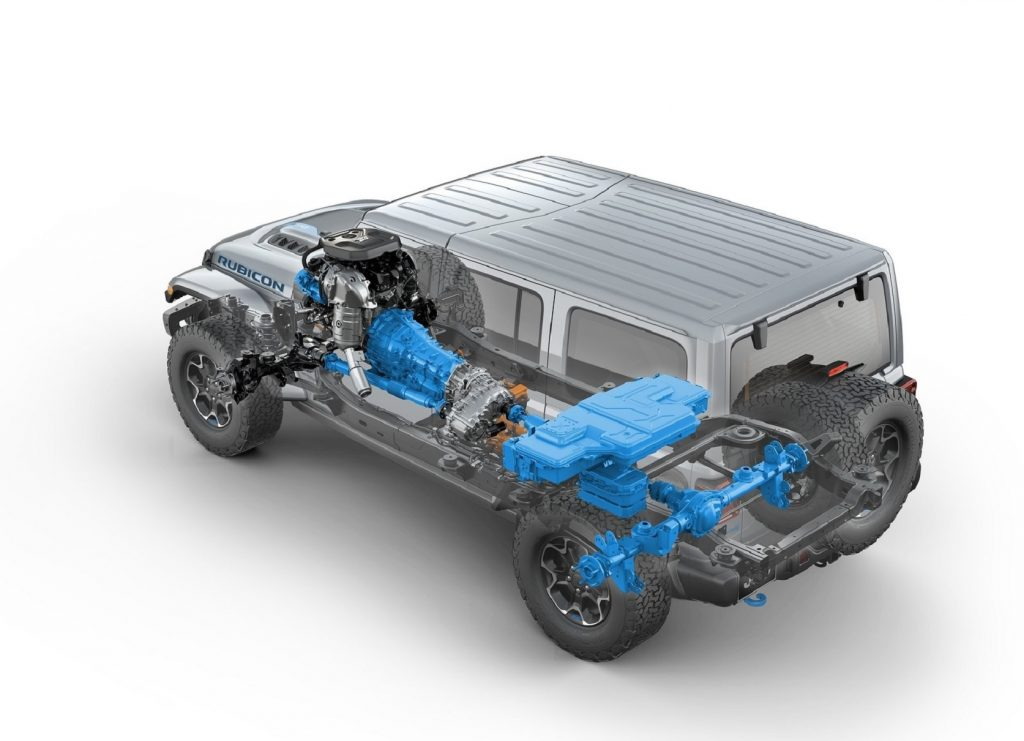 The rear 3/4 view of a cutaway diagram of the 2021 Jeep Wrangler Rubicon 4xe showing the hybrid powertrain