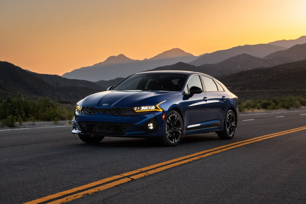 2021 Kia K5 GT-Line 1.6T FWD at sunset