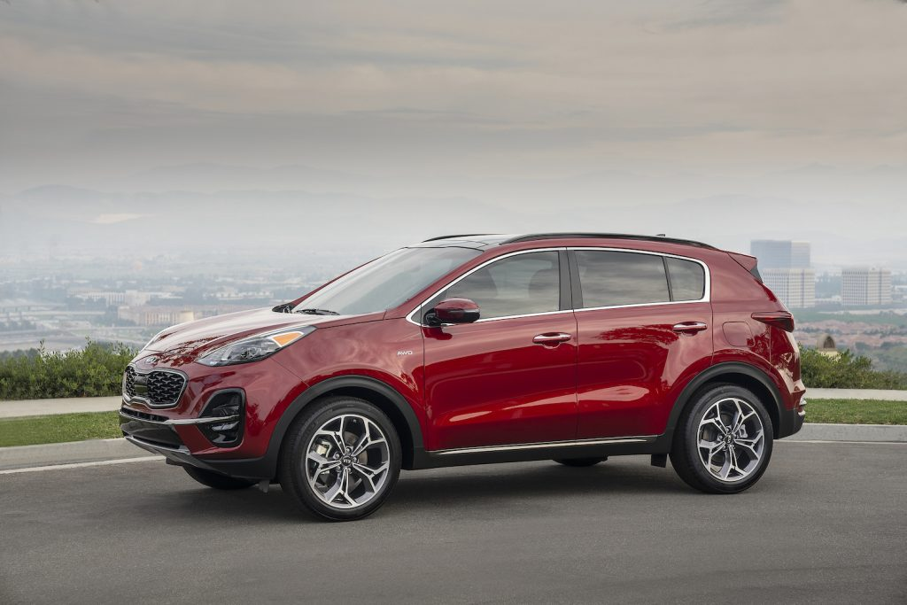 A red 2021 Kia Sportage