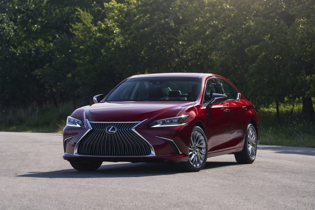 a front shot of the 2021 Lexus ES 250  in red