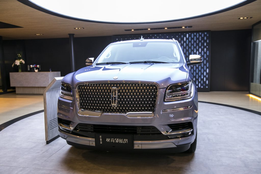A silver Lincoln Navigator car is on display during the 19th Shanghai International Automobile Industry Exhibition (Auto Shanghai 2021) at National Exhibition and Convention Center