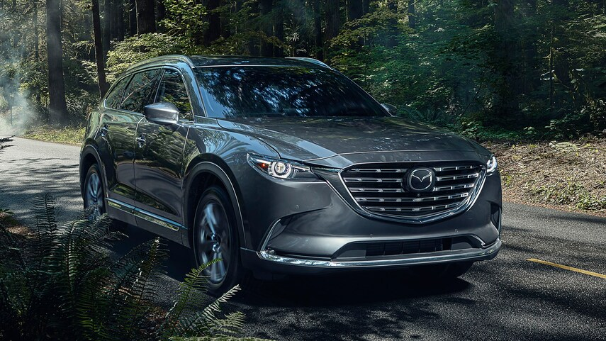 The 2021 Mazda CX-9 driving down the road