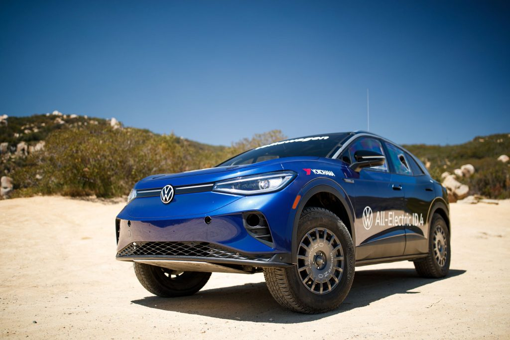 The front 3/4 view of the blue 2021 NORRA Mexican 1000 Volkswagen ID.4 in the Baja Peninsula desert
