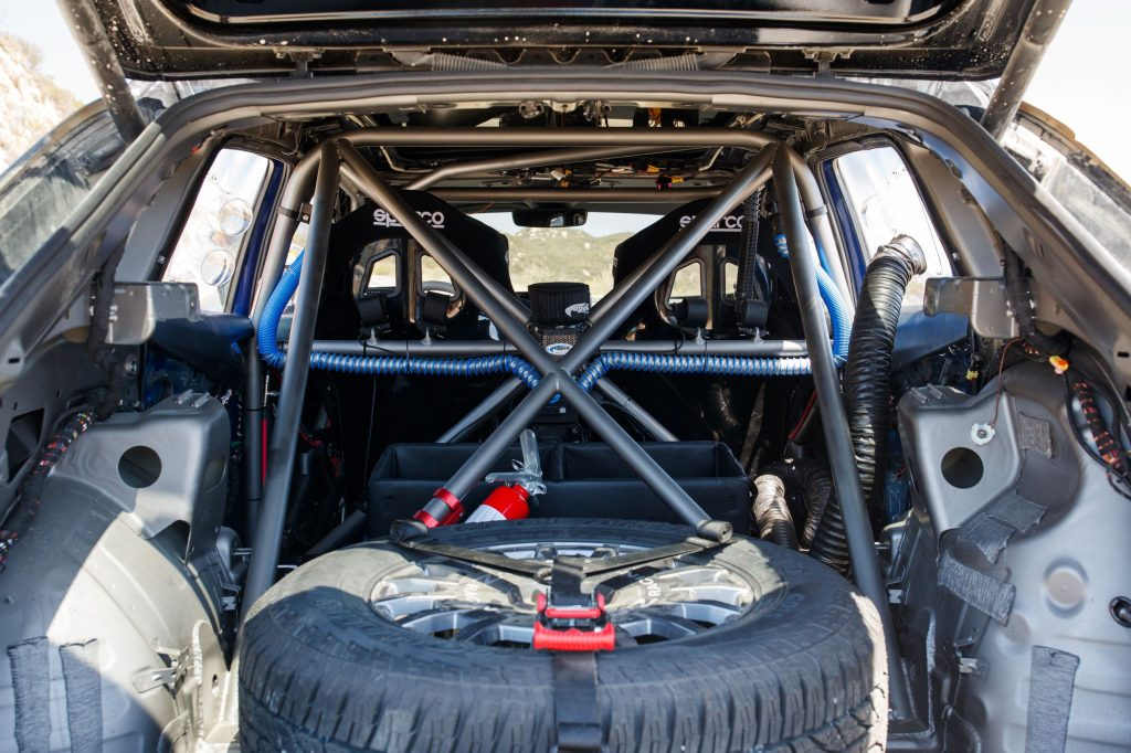 The rear view of the stripped-down interior of the 2021 NORRA Mexican 1000 Volkswagen ID.4