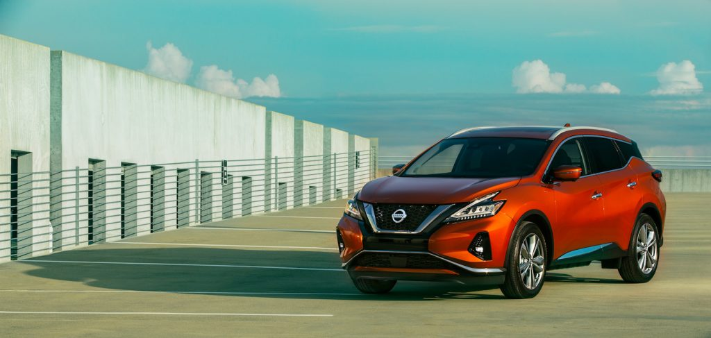 2021 Nissan Murano parked on a pretty day in a roof top lot.