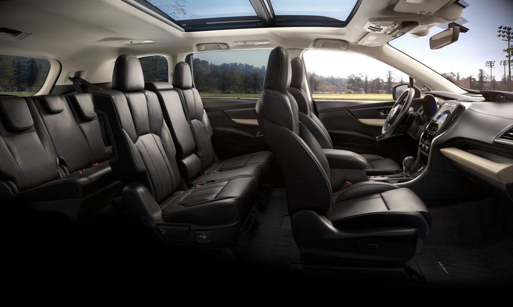 Black leather interior of a 2021 Subaru Ascent interior