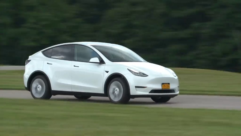 A white 2021 Tesla Model Y Long Range on Consumer Reports' track