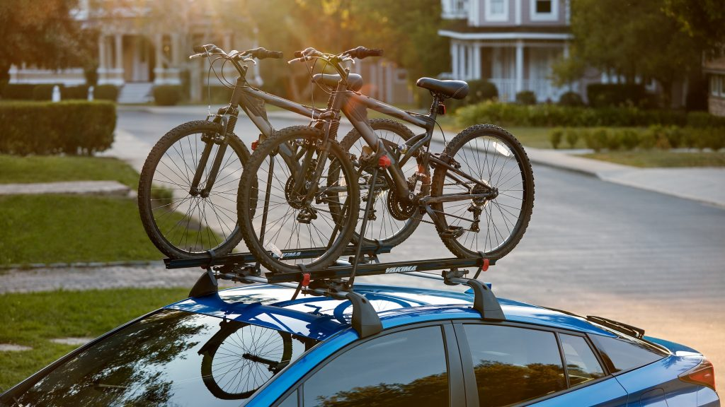 2021 Toyota Prius with bikes mounted on the roof