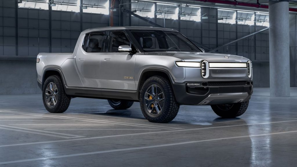 The 2021 Rivian R1T on display