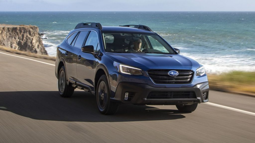 The 2021 Subaru Outback parked near water