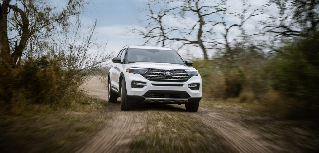 2021 Ford Explorer Kind Ranch Edition in white driving off road
