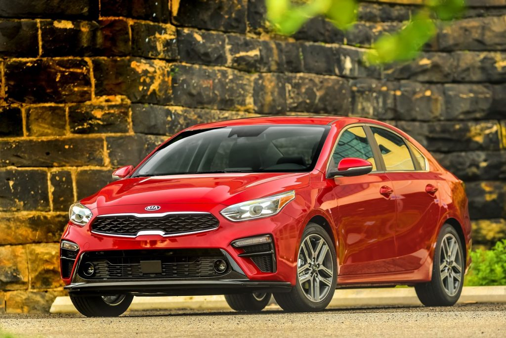 a shot of a red 2021 Kia Forte