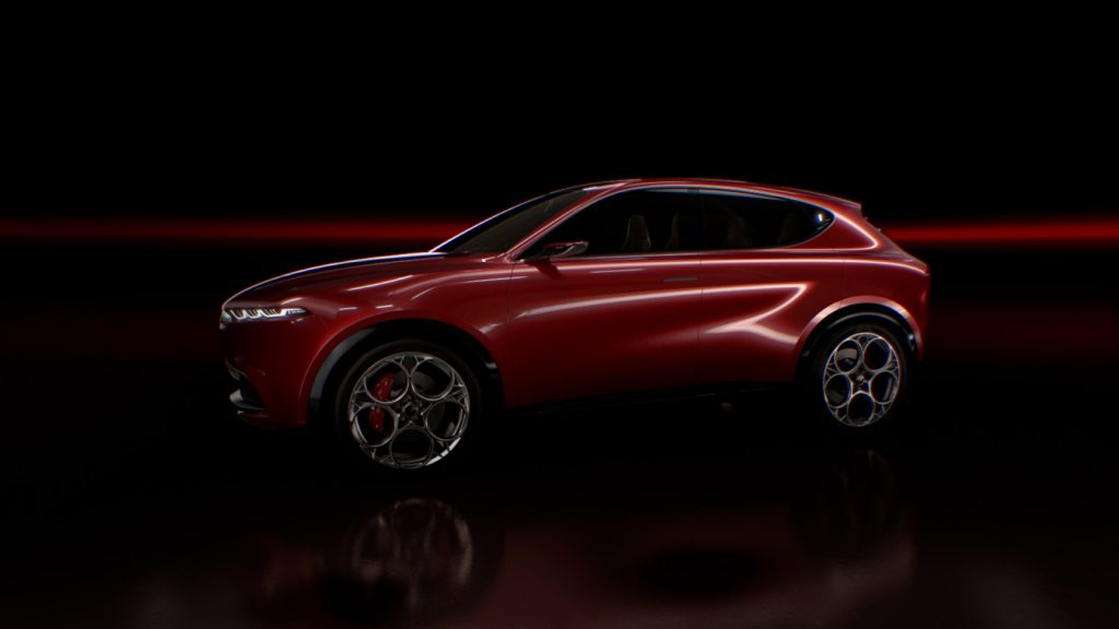 2022 Alfa Romeo Tonale crossover in red in dark background
