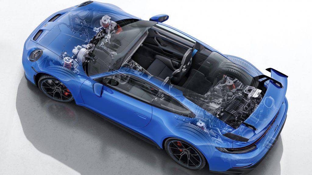 An overhead cutaway view of a blue 2022 Porsche 911 GT3