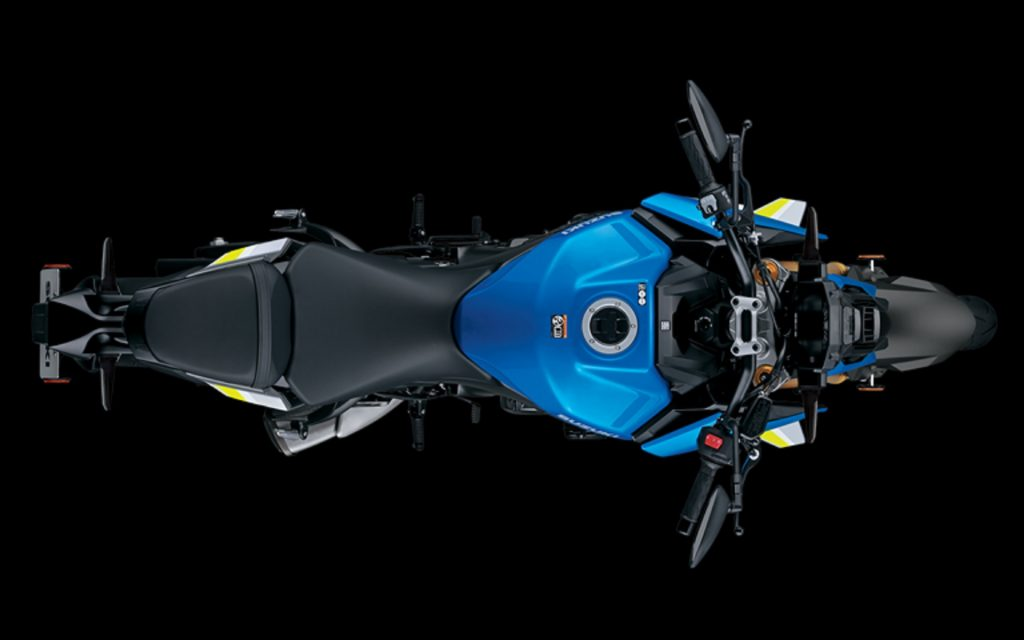 The overhead view of a blue-and-silver 2022 Suzuki GSX-S1000